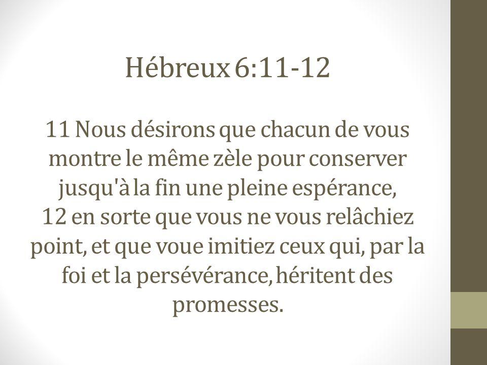 Hébreux 6:11-12 11 Nous désirons que chacun de vous montre le même zèle pour conserver jusqu à la fin une pleine espérance, 12 en sorte que vous ne vous relâchiez point, et que voue imitiez ceux qui, par la foi et la persévérance, héritent des promesses.
