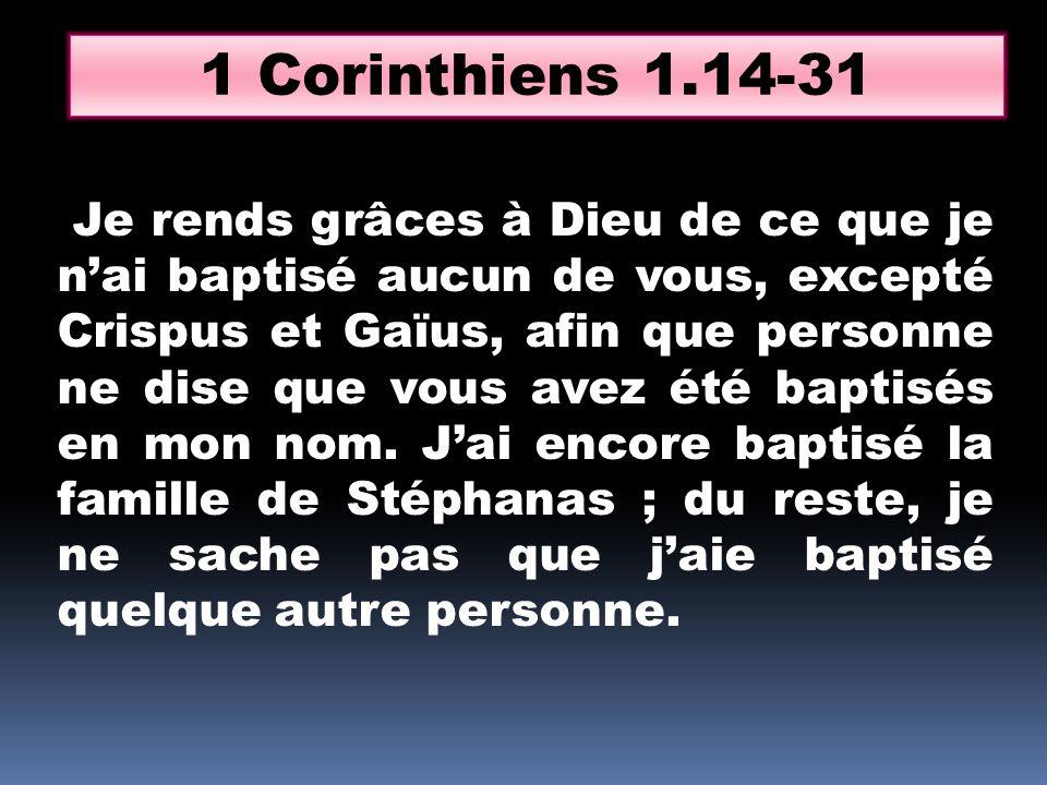 1 Corinthiens 1.14-31