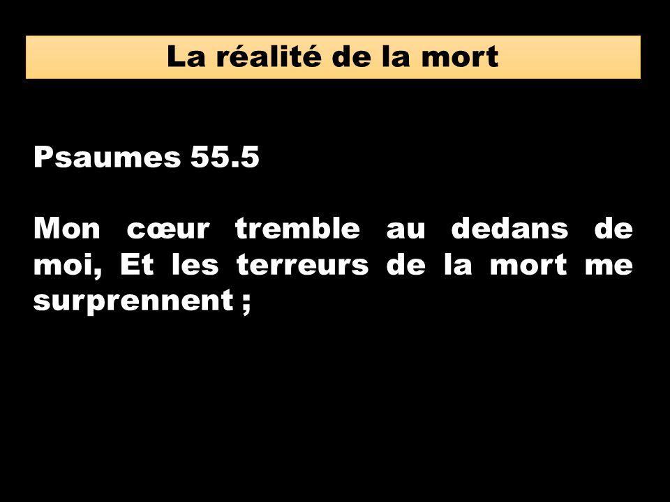 La réalité de la mort Psaumes 55.5.