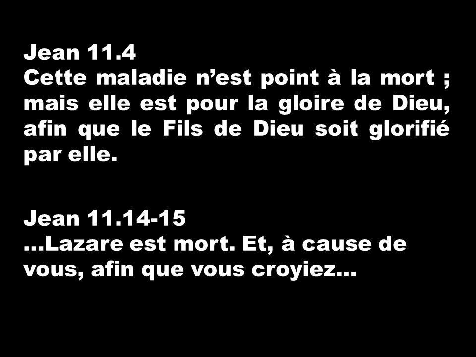 Jean 11.4 Cette maladie n'est point à la mort ; mais elle est pour la gloire de Dieu, afin que le Fils de Dieu soit glorifié par elle.