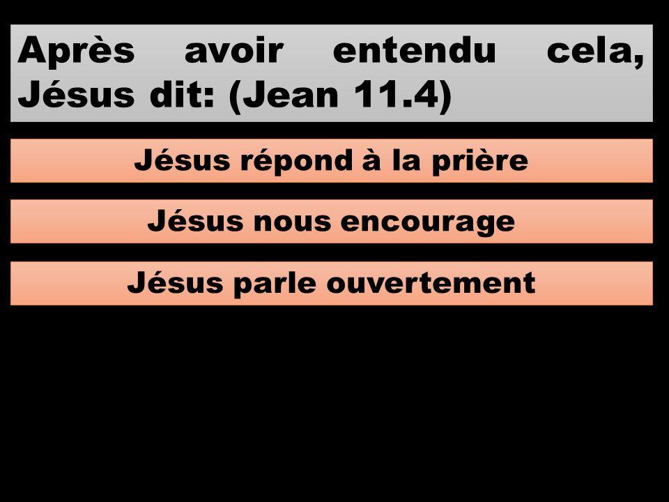 Après avoir entendu cela, Jésus dit: (Jean 11.4)