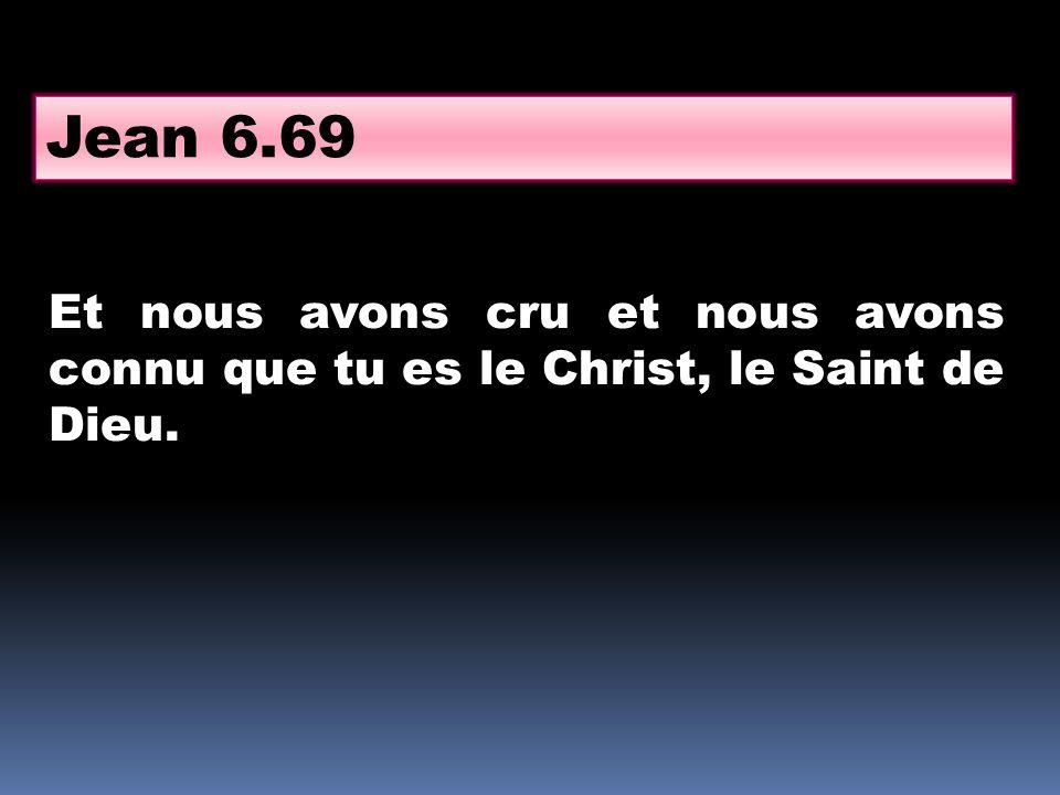 Jean 6.69 Et nous avons cru et nous avons connu que tu es le Christ, le Saint de Dieu.