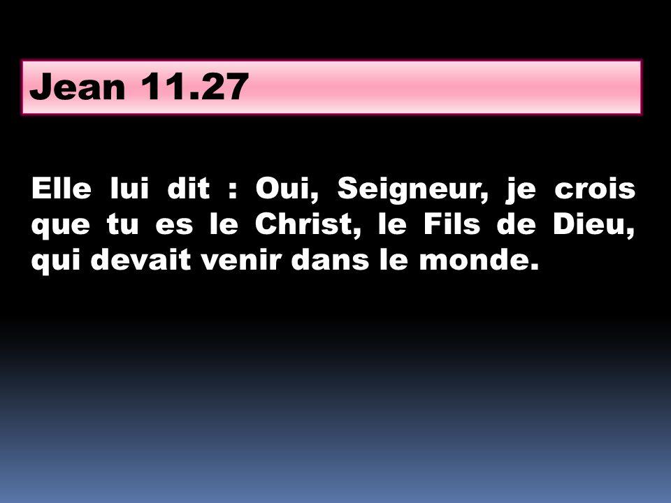 Jean 11.27 Elle lui dit : Oui, Seigneur, je crois que tu es le Christ, le Fils de Dieu, qui devait venir dans le monde.