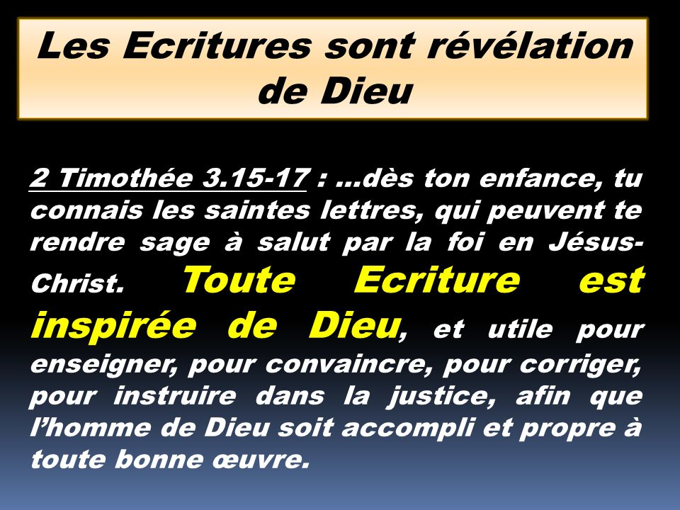 Les Ecritures sont révélation de Dieu