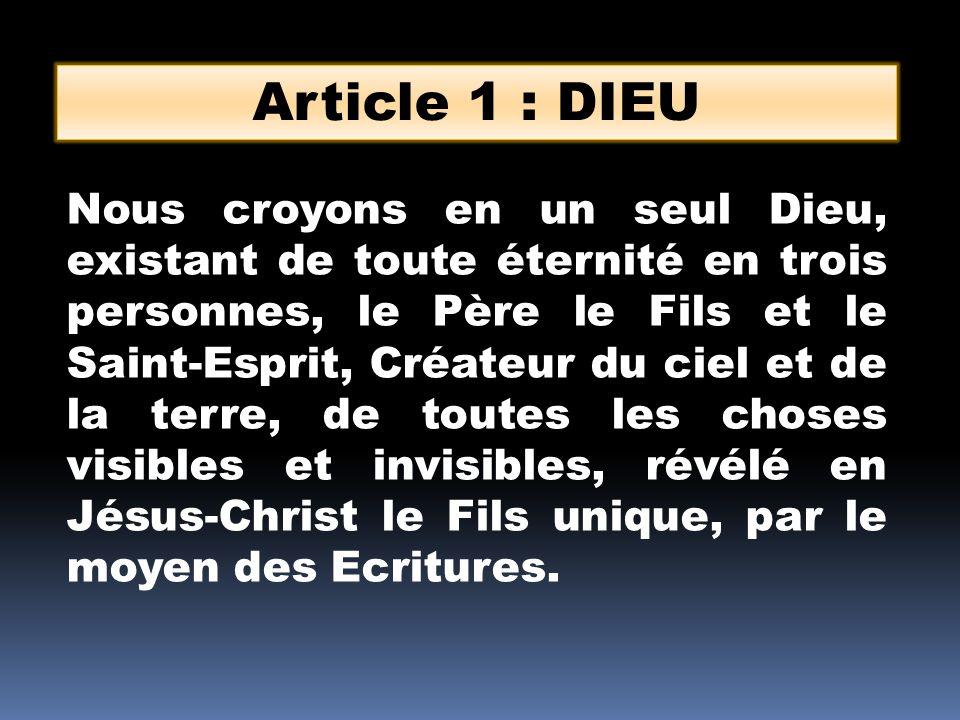 Article 1 : DIEU