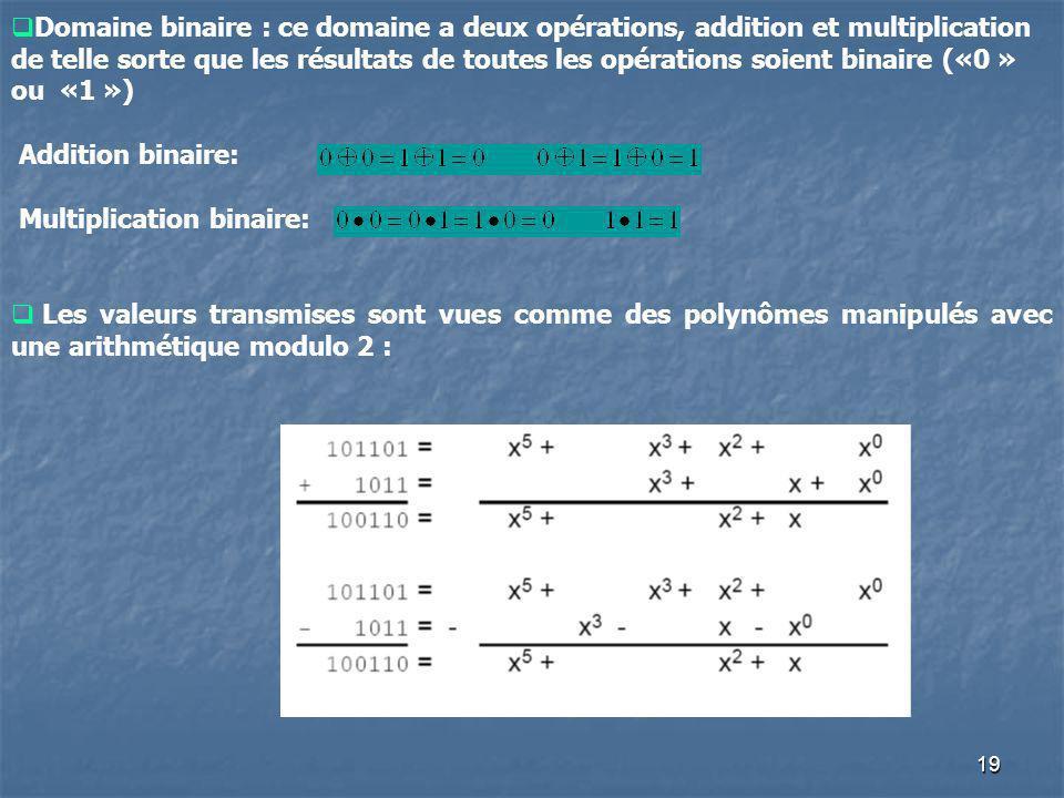 Domaine binaire : ce domaine a deux opérations, addition et multiplication de telle sorte que les résultats de toutes les opérations soient binaire («0 » ou «1 »)