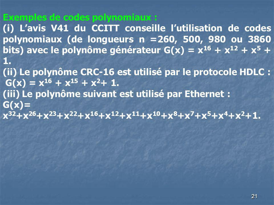 Exemples de codes polynomiaux :