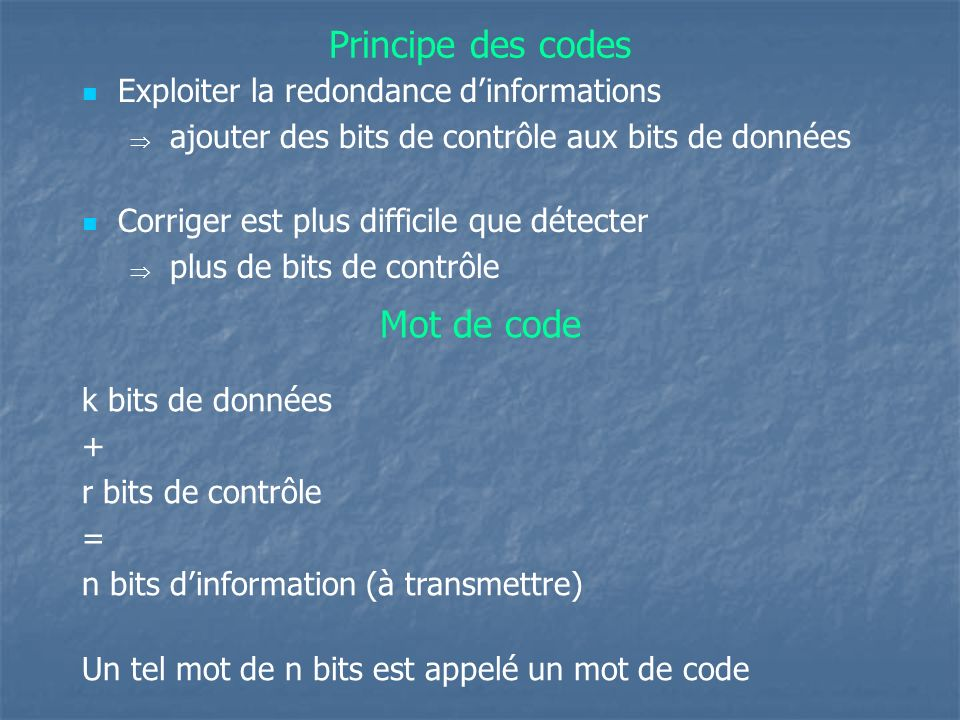 Principe des codes Mot de code Exploiter la redondance d'informations