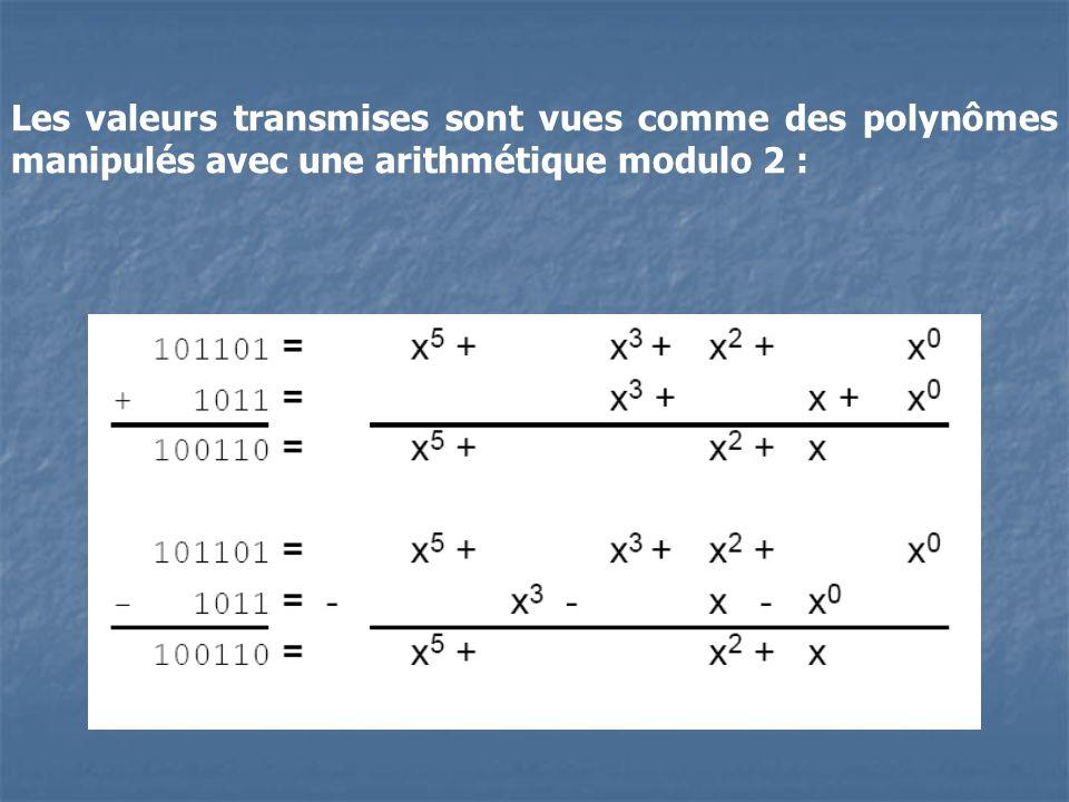Les valeurs transmises sont vues comme des polynômes manipulés avec une arithmétique modulo 2 :