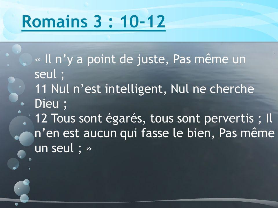 Romains 3 : 10-12 « Il n'y a point de juste, Pas même un seul ;