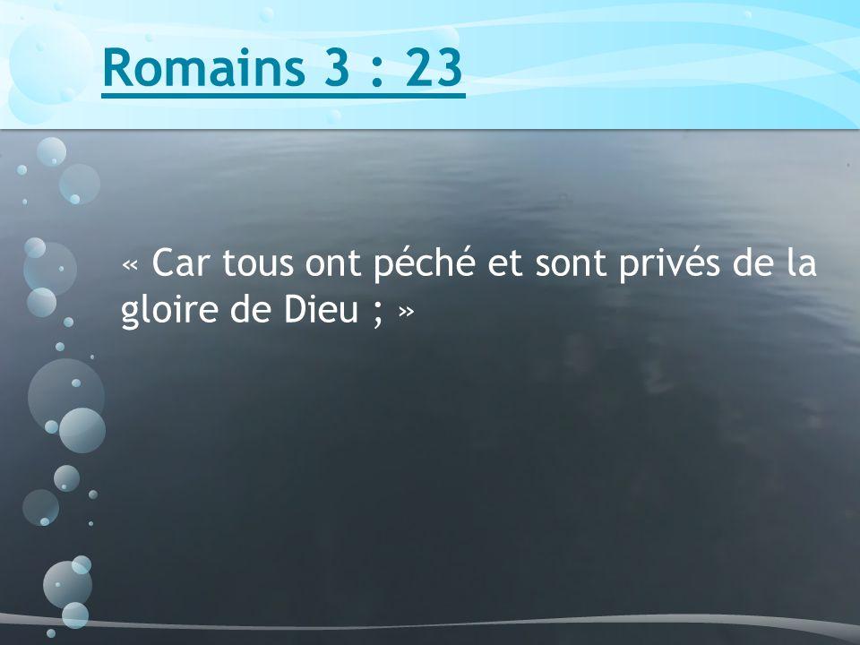 Romains 3 : 23 « Car tous ont péché et sont privés de la gloire de Dieu ; »
