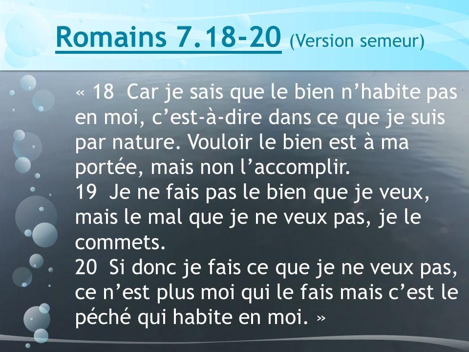 Romains 7.18-20 (Version semeur)