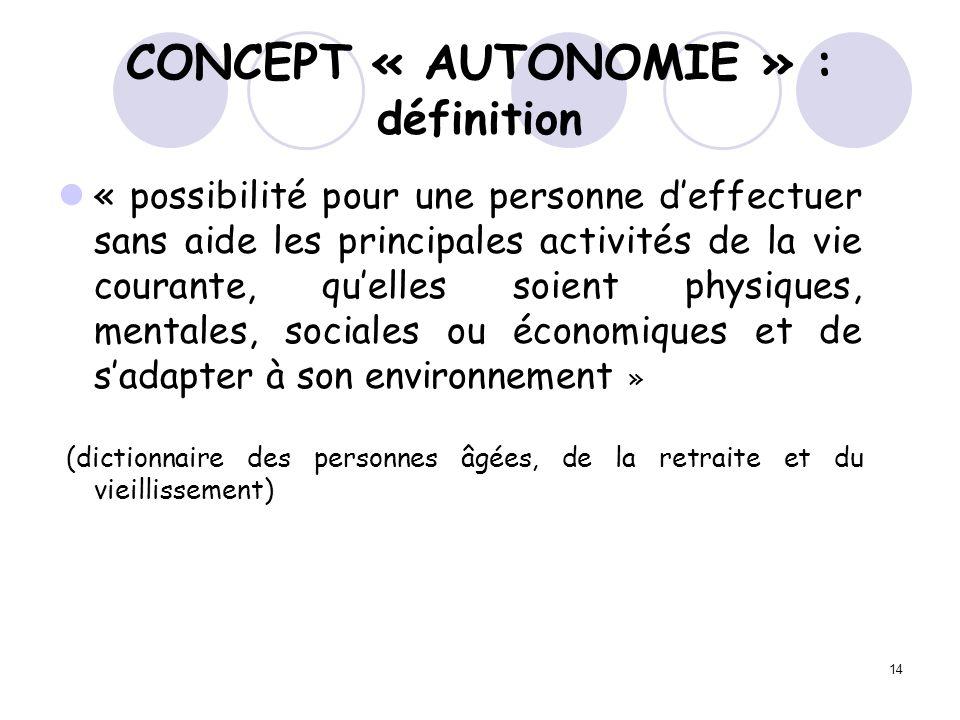 CONCEPT « AUTONOMIE » : définition