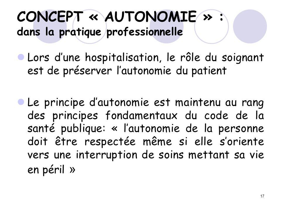 CONCEPT « AUTONOMIE » : dans la pratique professionnelle