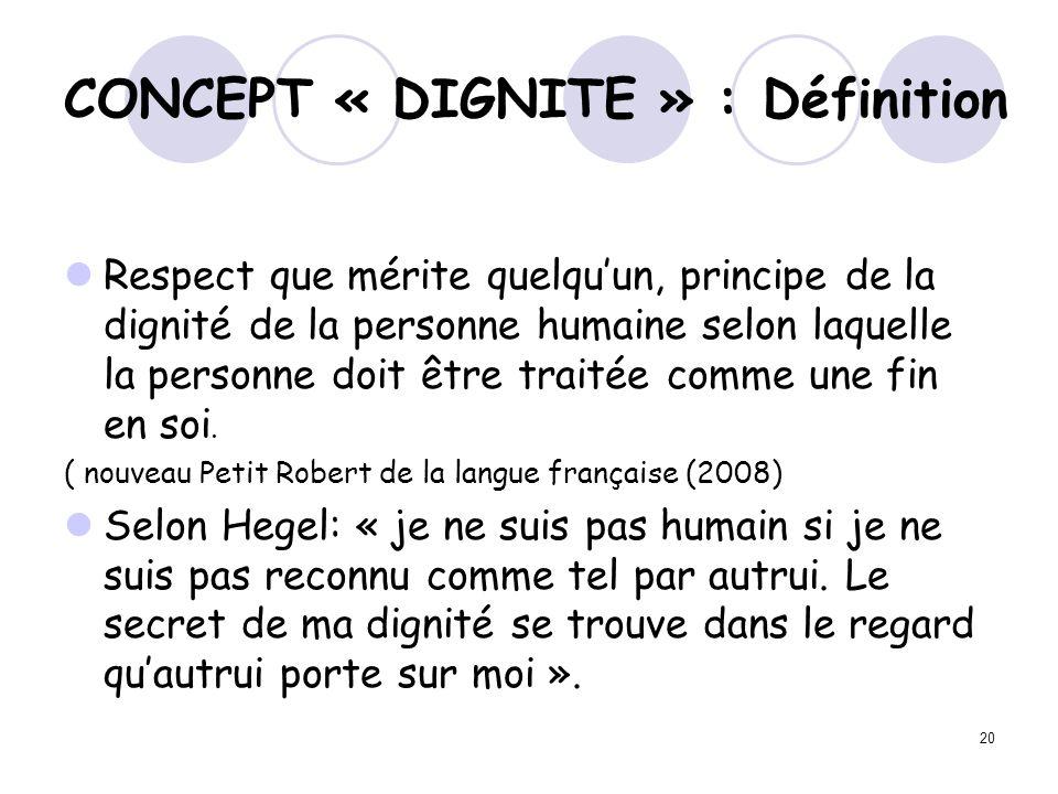 CONCEPT « DIGNITE » : Définition