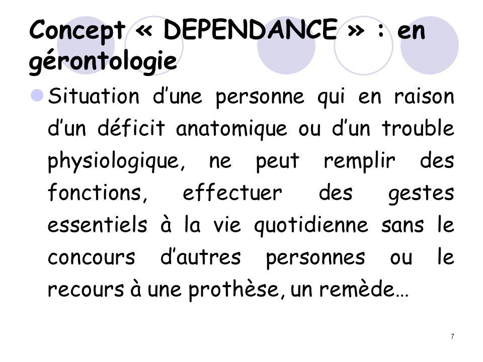 Concept « DEPENDANCE » : en gérontologie