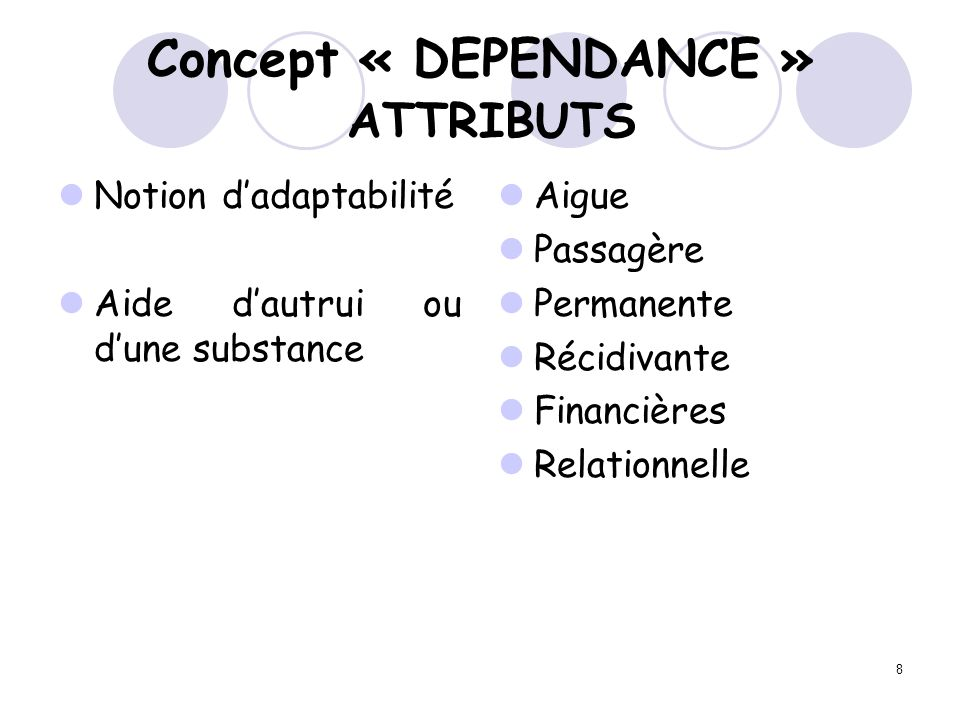 Concept « DEPENDANCE » ATTRIBUTS