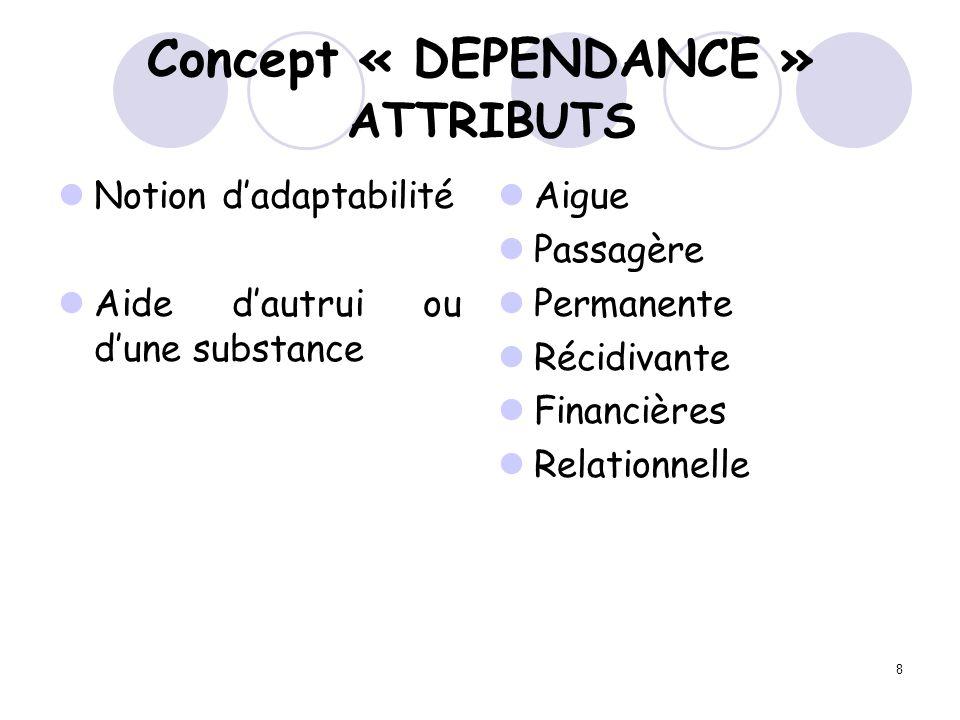 Concept « DEPENDANCE » ATTRIBUTS