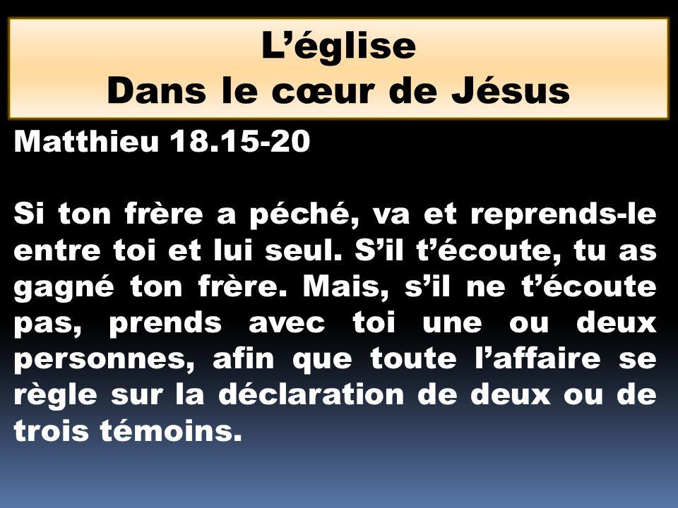 L'église Dans le cœur de Jésus Matthieu 18.15-20