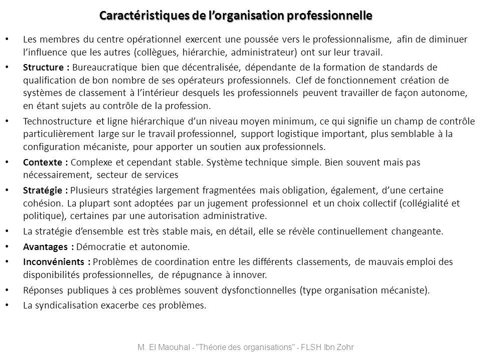 Caractéristiques de l'organisation professionnelle