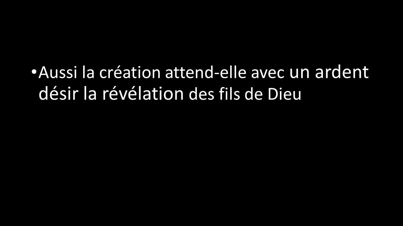 Aussi la création attend-elle avec un ardent désir la révélation des fils de Dieu
