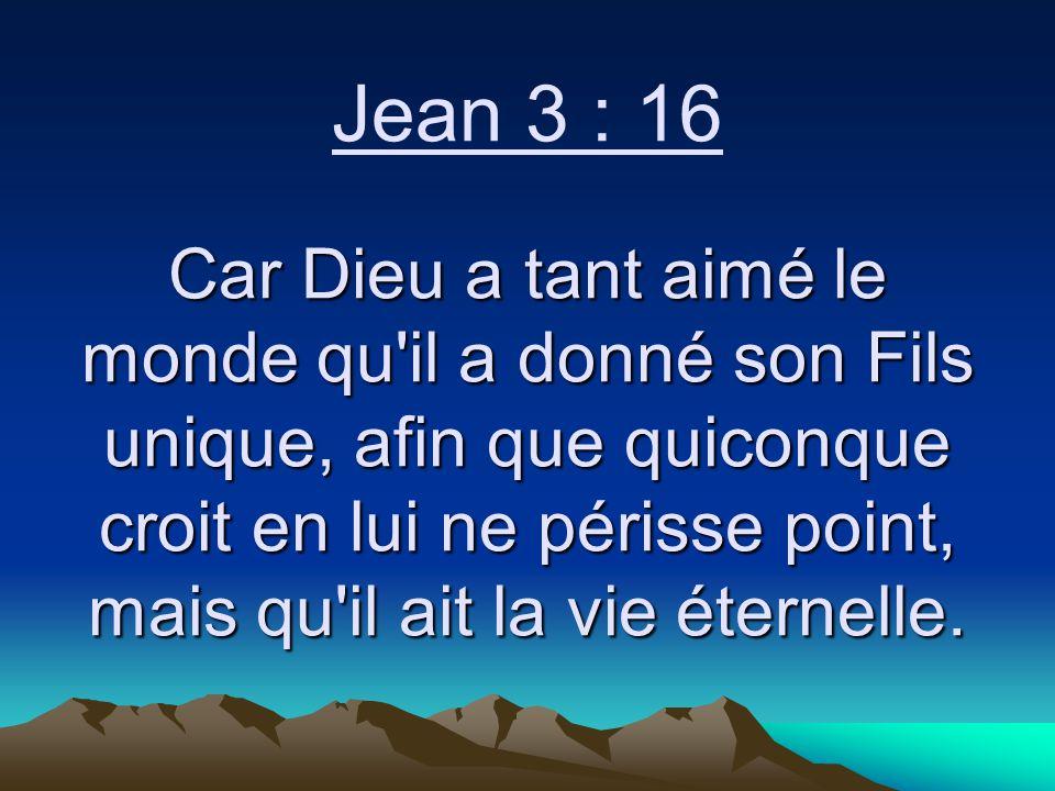 Jean 3 : 16 Car Dieu a tant aimé le monde qu il a donné son Fils unique, afin que quiconque croit en lui ne périsse point, mais qu il ait la vie éternelle.