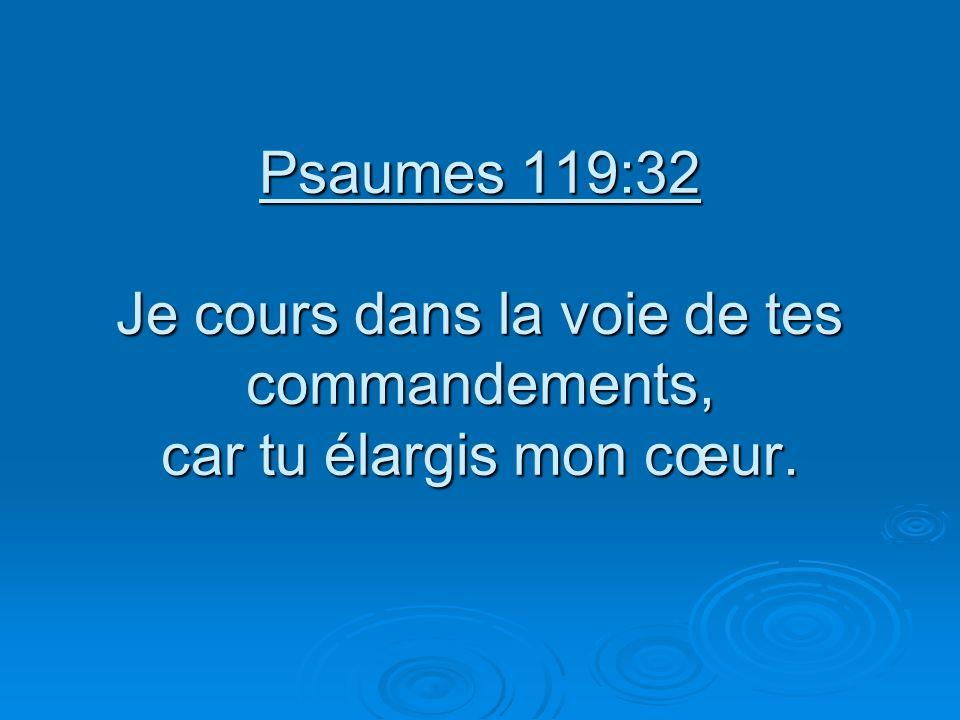 Psaumes 119:32 Je cours dans la voie de tes commandements, car tu élargis mon cœur.