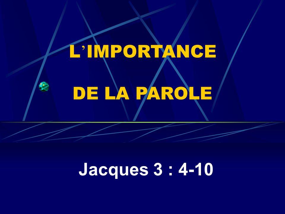 L'IMPORTANCE DE LA PAROLE