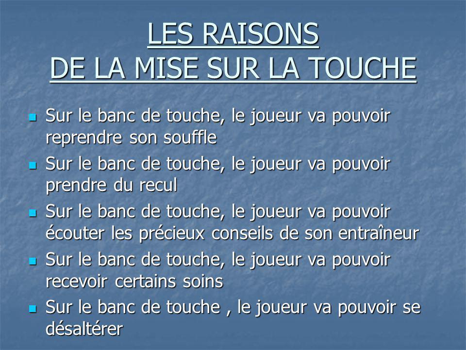 LES RAISONS DE LA MISE SUR LA TOUCHE