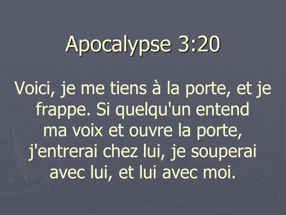 Apocalypse 3:20 Voici, je me tiens à la porte, et je frappe