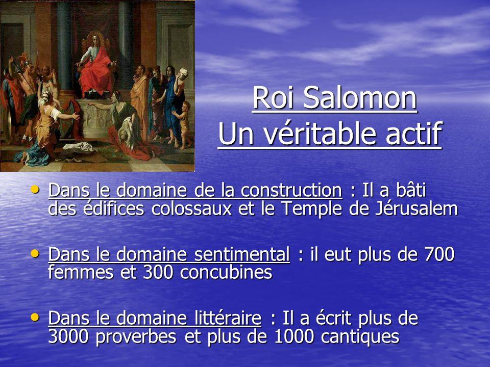 Roi Salomon Un véritable actif