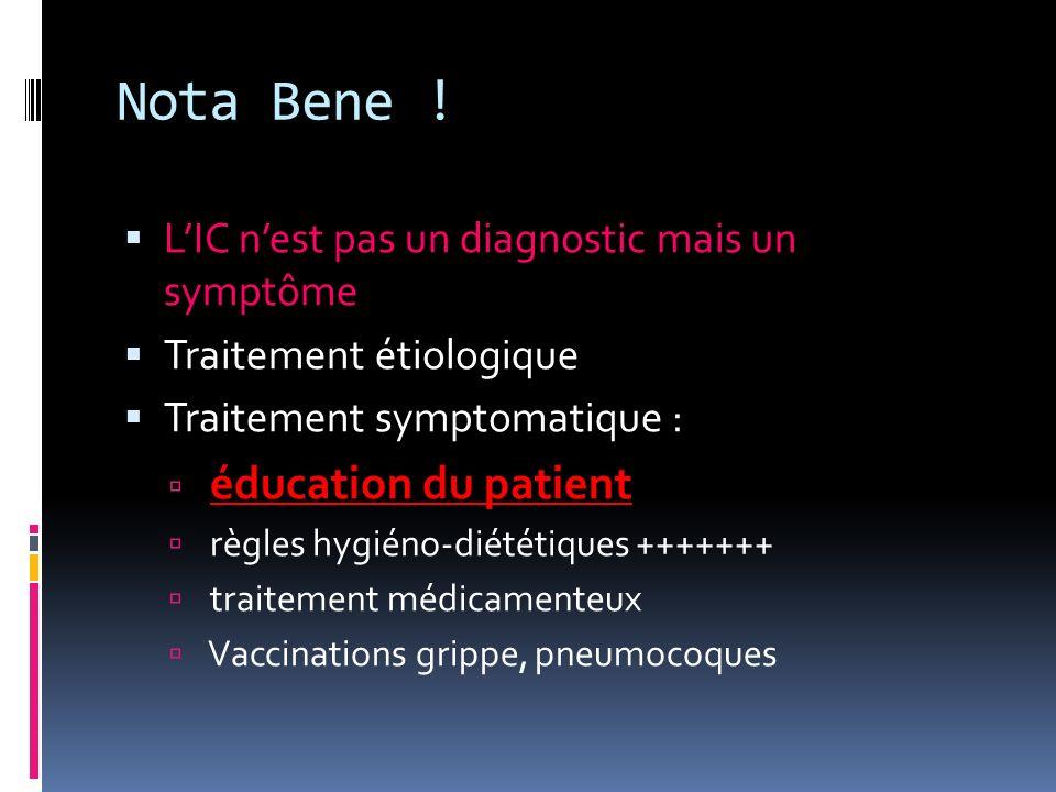 Nota Bene ! L'IC n'est pas un diagnostic mais un symptôme