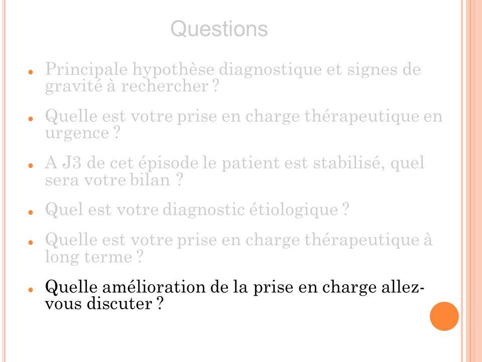 Questions Principale hypothèse diagnostique et signes de gravité à rechercher Quelle est votre prise en charge thérapeutique en urgence