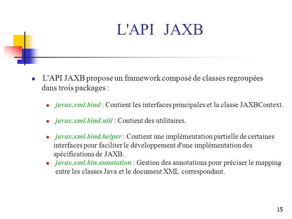 L API JAXB L API JAXB propose un framework composé de classes regroupées. dans trois packages :