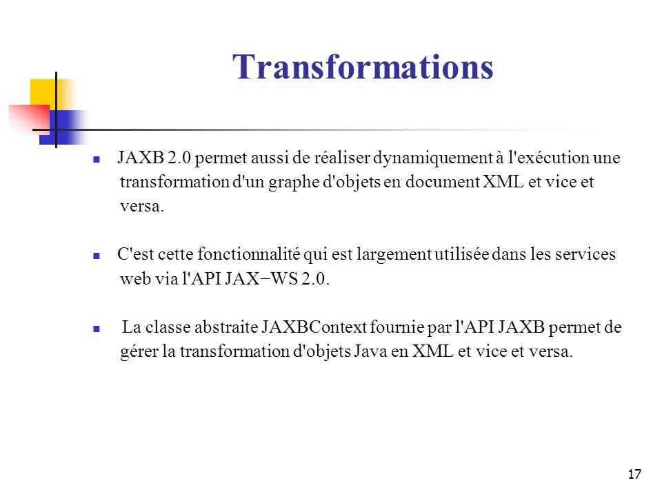 Transformations JAXB 2.0 permet aussi de réaliser dynamiquement à l exécution une. transformation d un graphe d objets en document XML et vice et.