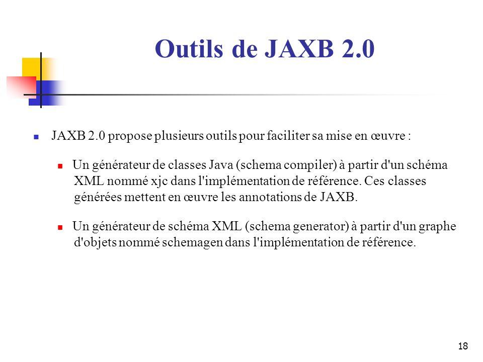 Outils de JAXB 2.0 JAXB 2.0 propose plusieurs outils pour faciliter sa mise en œuvre :