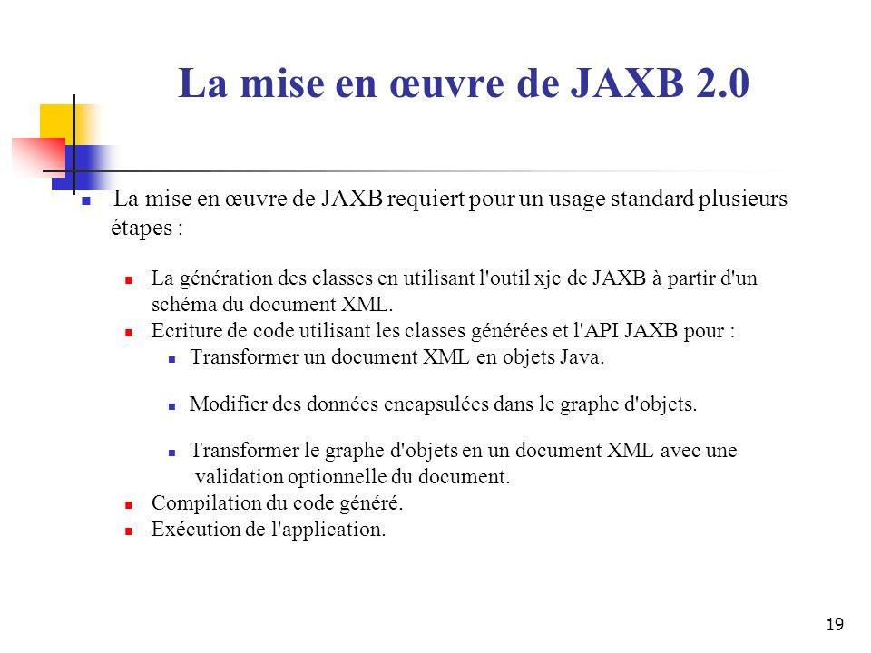 La mise en œuvre de JAXB 2.0 La mise en œuvre de JAXB requiert pour un usage standard plusieurs. étapes :