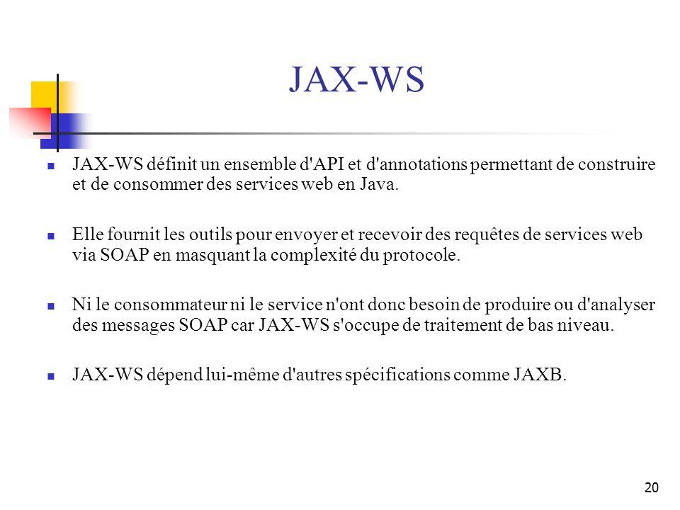 JAX-WS JAX-WS définit un ensemble d API et d annotations permettant de construire et de consommer des services web en Java.