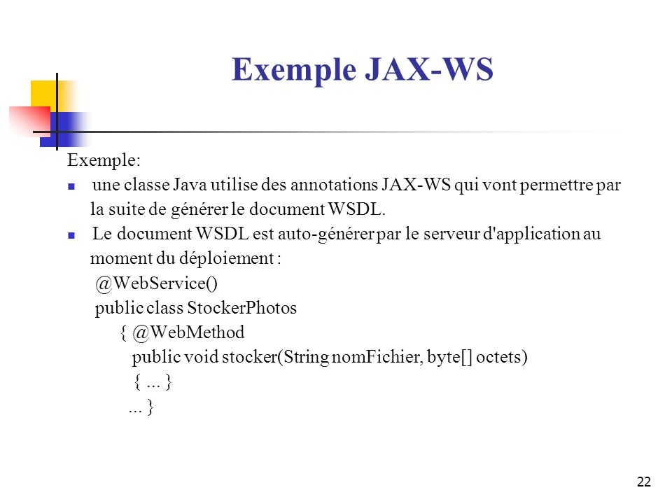 Exemple JAX-WS Exemple: