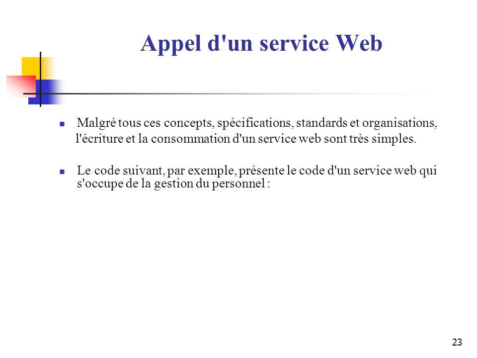 Appel d un service Web Malgré tous ces concepts, spécifications, standards et organisations,