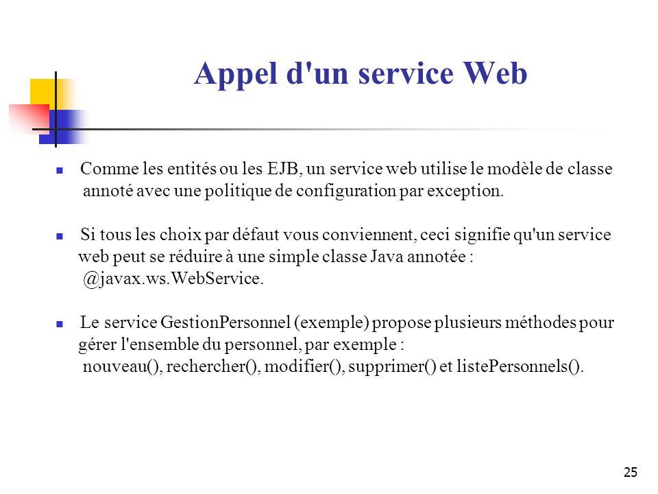 Appel d un service Web Comme les entités ou les EJB, un service web utilise le modèle de classe.