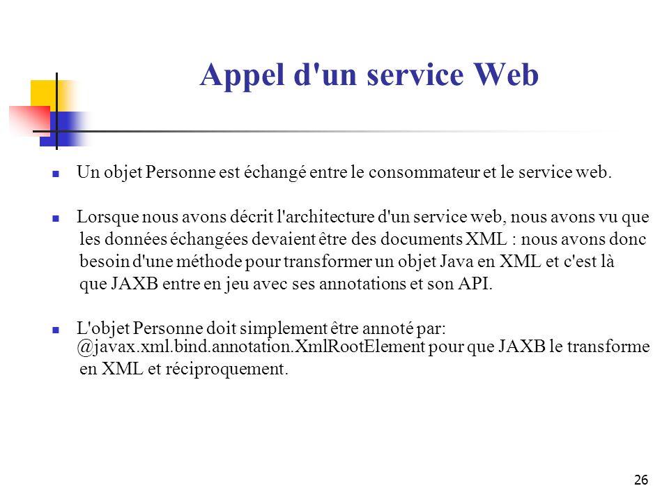 Appel d un service Web Un objet Personne est échangé entre le consommateur et le service web.