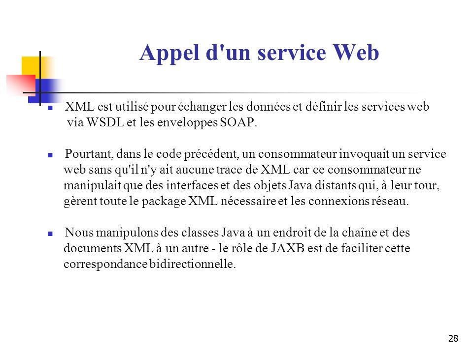 Appel d un service Web XML est utilisé pour échanger les données et définir les services web. via WSDL et les enveloppes SOAP.