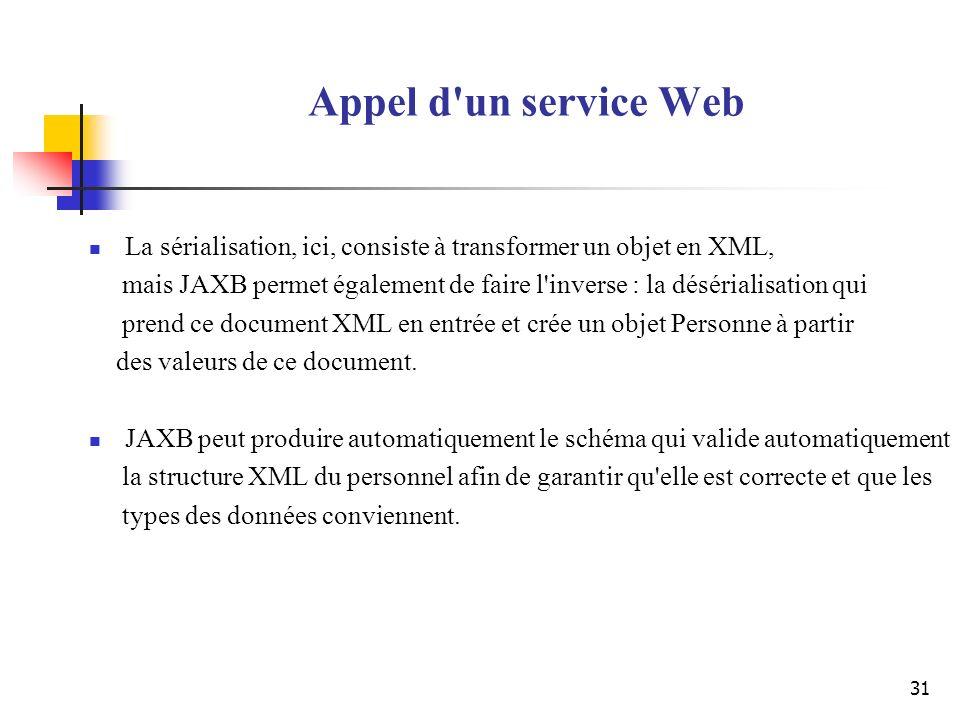 Appel d un service Web La sérialisation, ici, consiste à transformer un objet en XML,