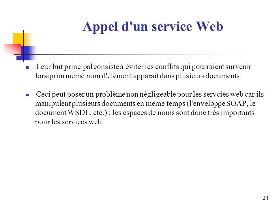 Appel d un service Web Leur but principal consiste à éviter les conflits qui pourraient survenir.