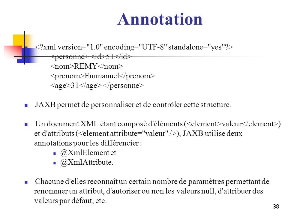 Annotation < xml version= 1.0 encoding= UTF-8 standalone= yes > <personne> <id>51</id> <nom>REMY</nom>