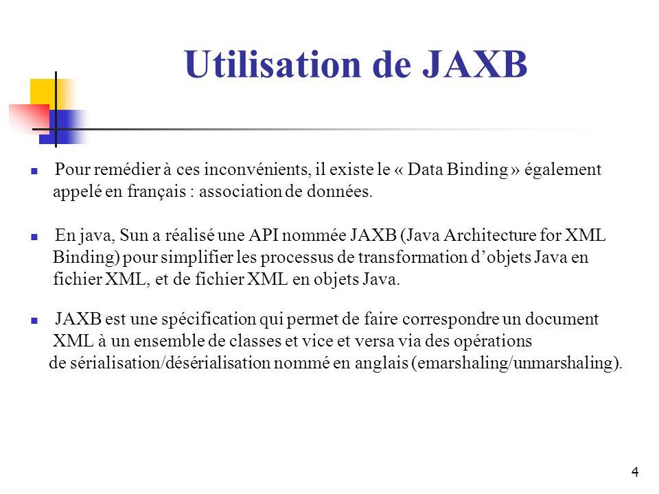 Utilisation de JAXB Pour remédier à ces inconvénients, il existe le « Data Binding » également. appelé en français : association de données.