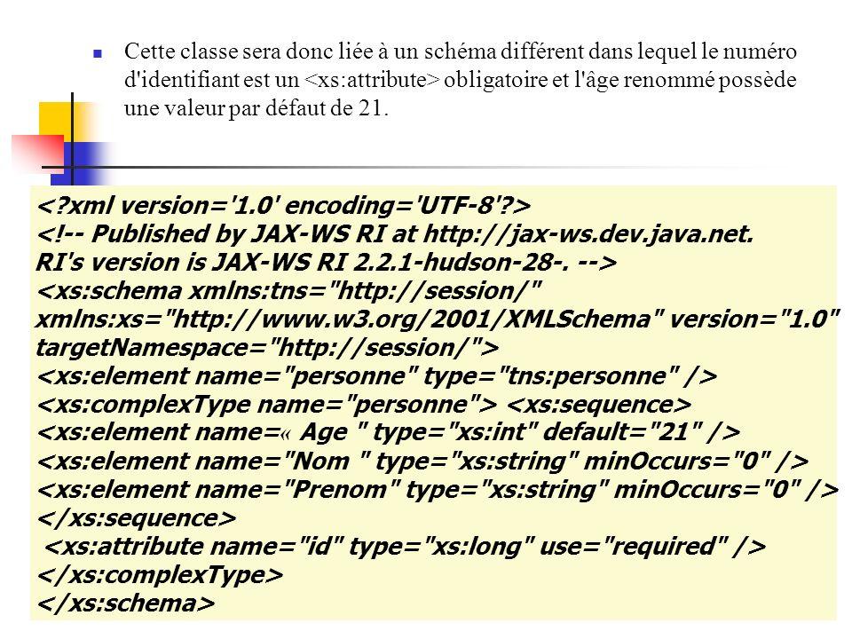 Cette classe sera donc liée à un schéma différent dans lequel le numéro d identifiant est un <xs:attribute> obligatoire et l âge renommé possède une valeur par défaut de 21.