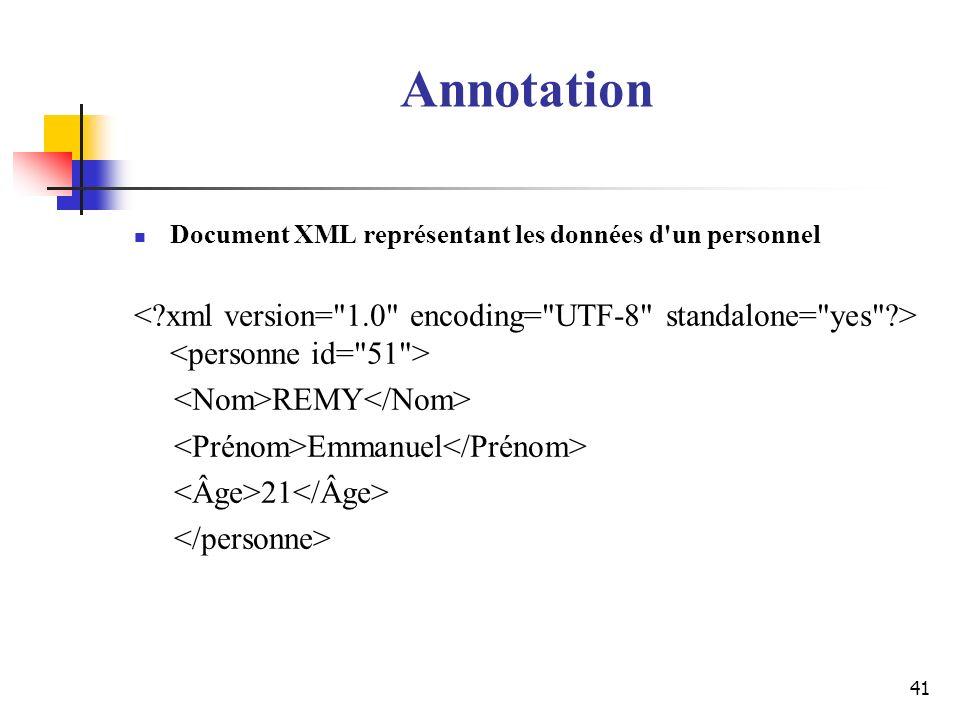 Annotation Document XML représentant les données d un personnel. < xml version= 1.0 encoding= UTF-8 standalone= yes > <personne id= 51 >