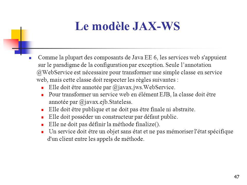 Le modèle JAX-WS Comme la plupart des composants de Java EE 6, les services web s appuient.